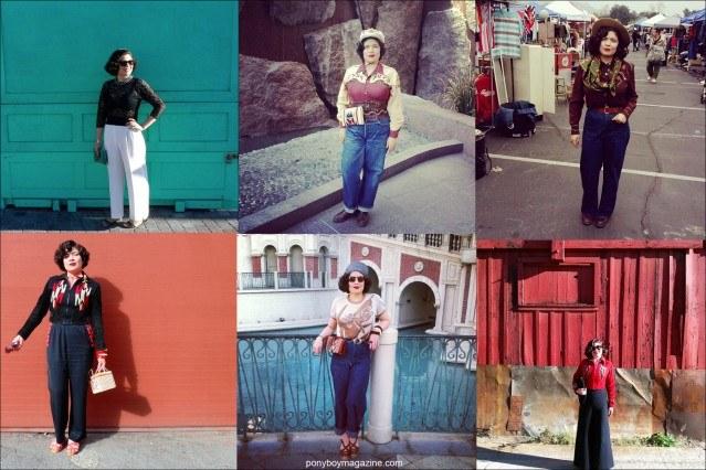 Various vintage looks of Santa Muerte Trading Co. Crystal Landeros, photographed by Anthony Rosas. Ponyboy magazine.