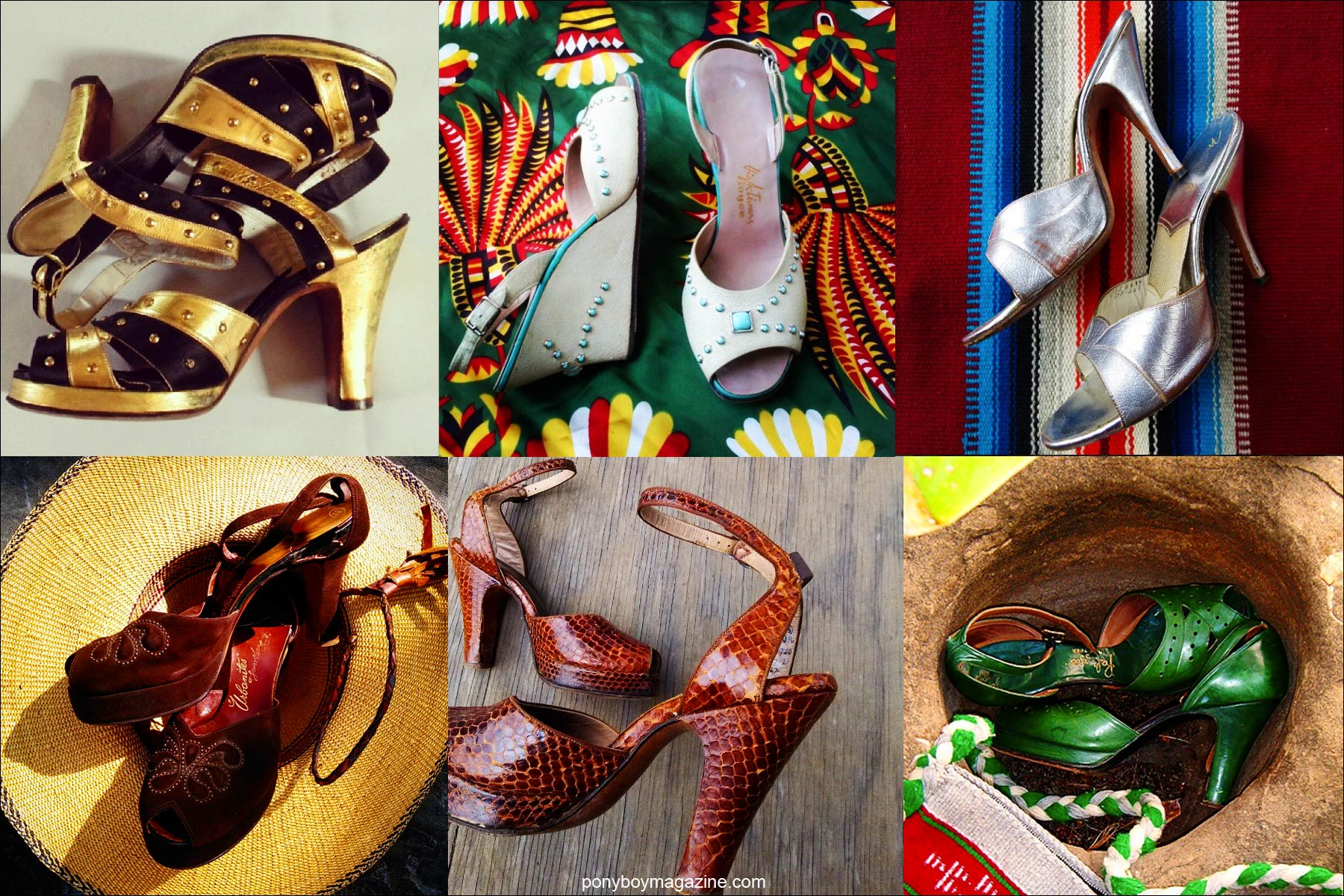 Vintage women's shoes from the 1930's-50's, from the collection of Santa Muerte Trading Co. Ponyboy magazine NYC.