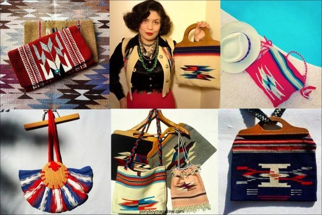 Chimayo vintage purses, from the collection of Santa Muerte Trading Co. Ponyboy magazine.