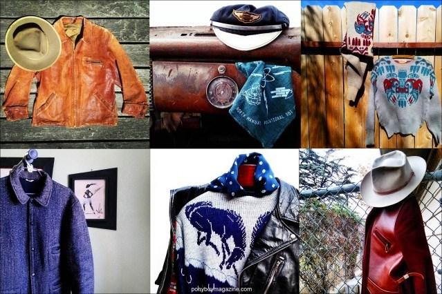 Photographs of mens' vintage clothing from the 30's-40's, courtesy of Santa Muerte Trading Co. Ponyboy magazine.