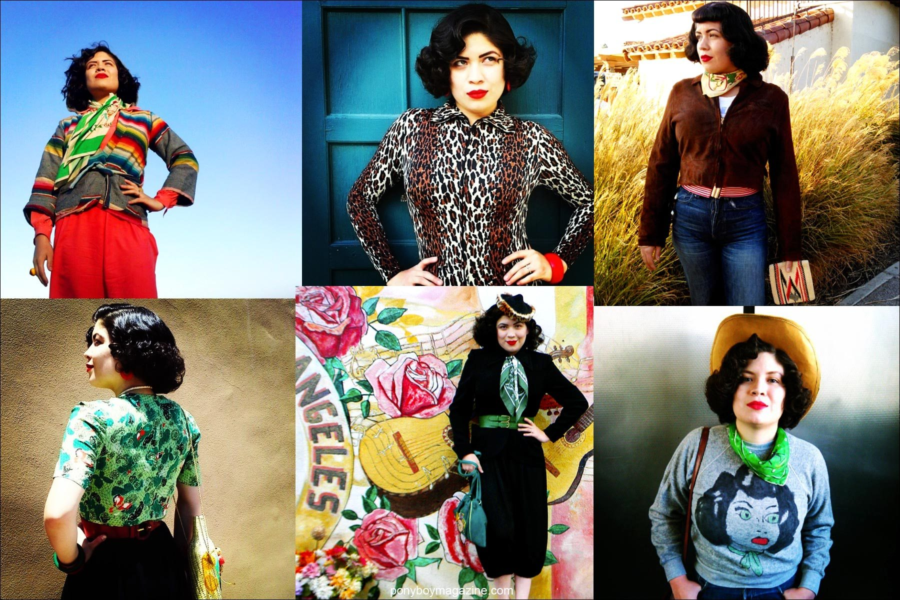 Women's vintage looks photographed on Crystal Landeros from Santa Muerte Trading Co. Ponyboy magazine NYC.