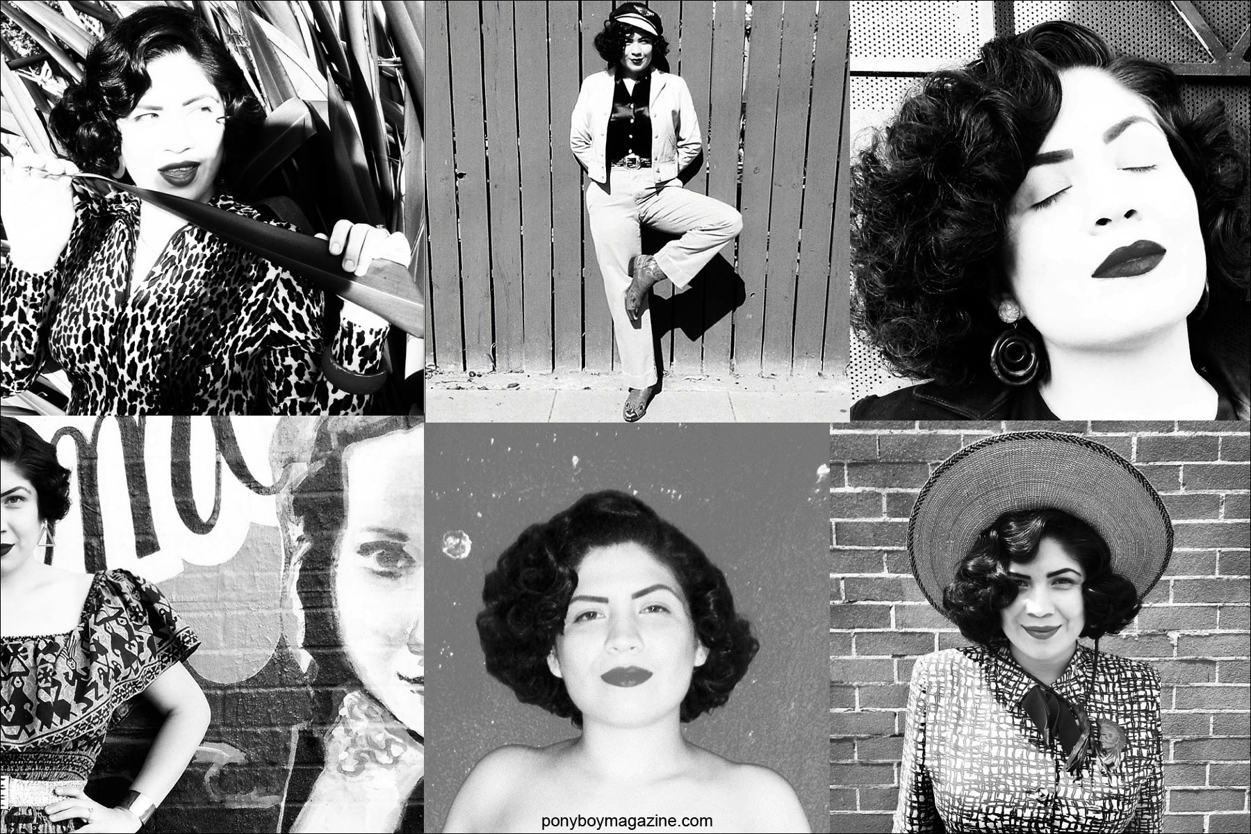 B&W photos of Mrs. California Sweetheart, from Santa Muerte Trading Co. Ponyboy magazine NY.