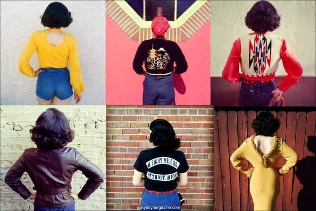 Backside images of women's vintage clothing on Crystal Landeros from Santa Muerte Trading Co. Ponyboy magazine.