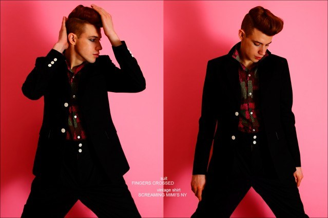 Model Lyle Lodwick wears a suit by Fingers Crossed, photographed by Alexander Thompson for Ponyboy magazine.
