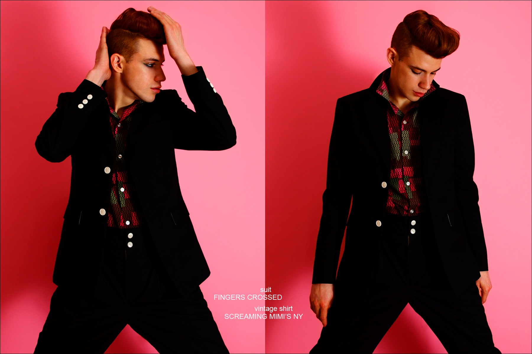 Model Lyle Lodwick wears a suit by Fingers Crossed, photographed by Alexander Thompson for Ponyboy magazine in New York.