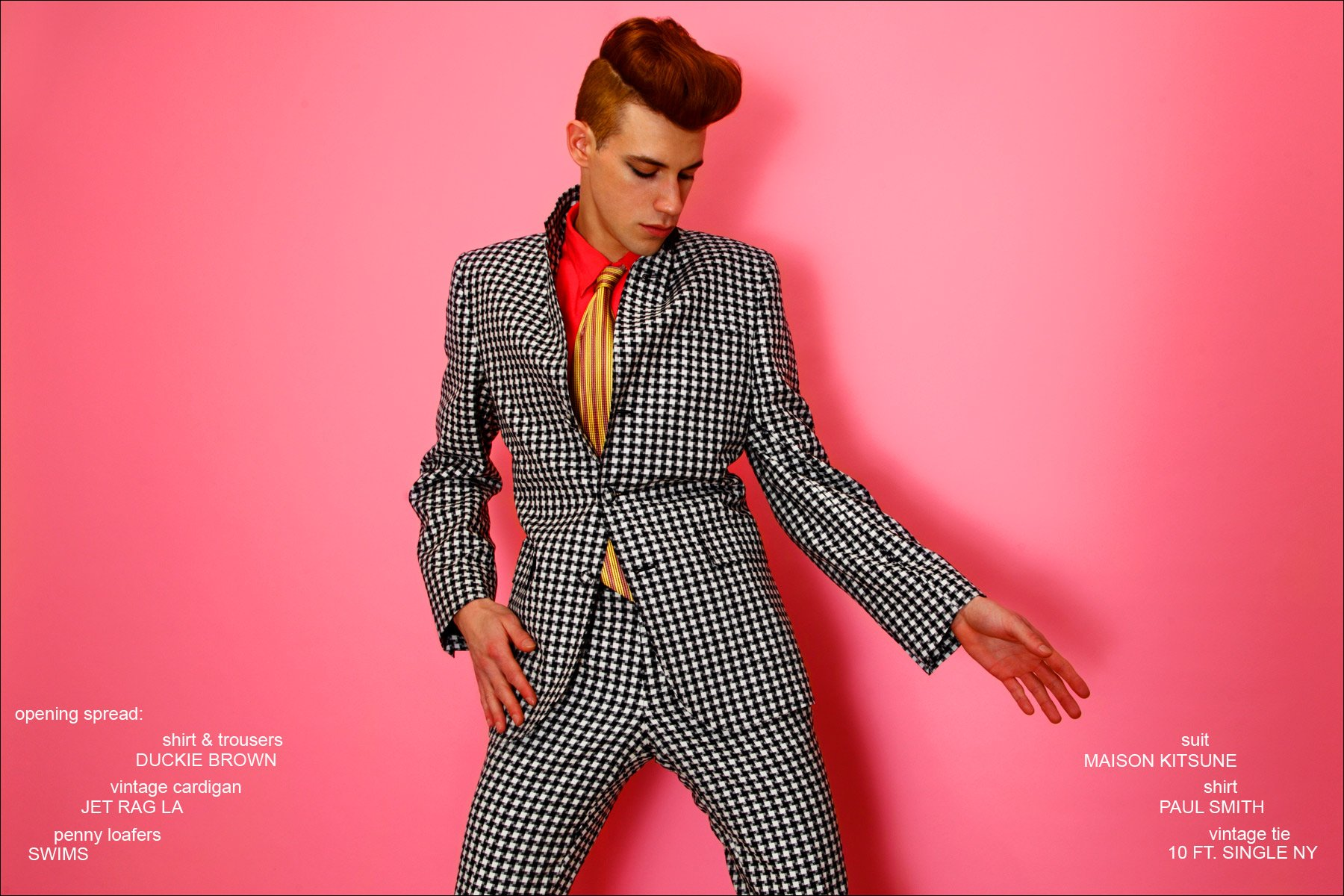 Model Lyle Lodwick wears a houndstooth suit by Maison Kitsune. Photographed by Alexander Thompson for Ponyboy magazine.