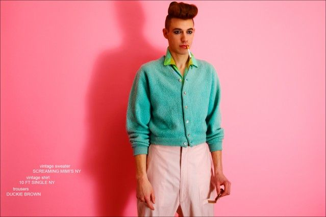 Lyle Lodwick wears a vintage shirt and sweater, and trousers by Duckie Brown. Photographed by Alexander Thompson for Ponyboy magazine.