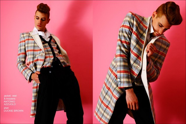 Lyle Lodwick wears a jacket, vest and trousers by Antonio Azzuolo, and a shirt by Duckie Brown. Photos by Alexander Thompson for Ponyboy magazine.