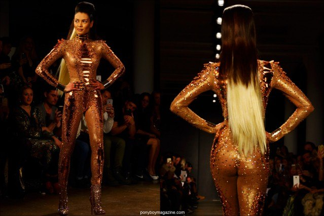 A rhinestoned catsuit closes the show at The Blonds F/W15 collection at Milk Studios NY. Photographed by Alexander Thompson for Ponyboy magazine.
