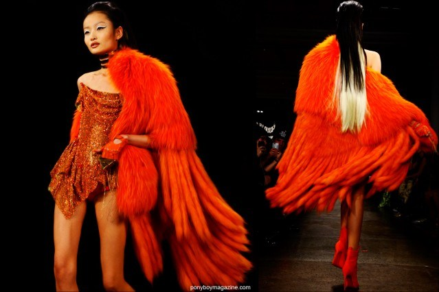 A gorgeous orange fur with tails, photographed on the runway at The Blonds F/W15 show at Milk Studios. Photographs by Alexander Thompson for Ponyboy magazine.