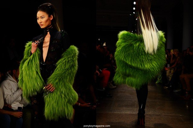 A green fur coat shown on The Blonds F/W15 runway at Milk Studios in New York City. Photographs by Alexander Thompson for Ponyboy magazine.