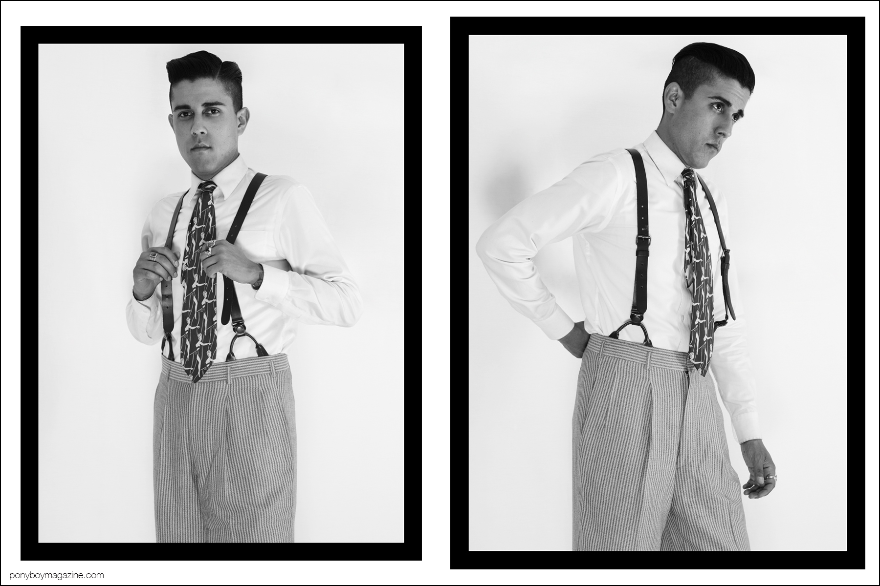 West Coast based production designer Daniel Luna, photographed in his best 30's-40's vintage menswear by Alexander Thompson for Ponyboy magazine.