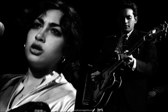 B&W photographs of Daisy and Lewis Durham, photographed onstage at Bowery Ballroom in New York by Alexander Thompson for Ponyboy magazine.