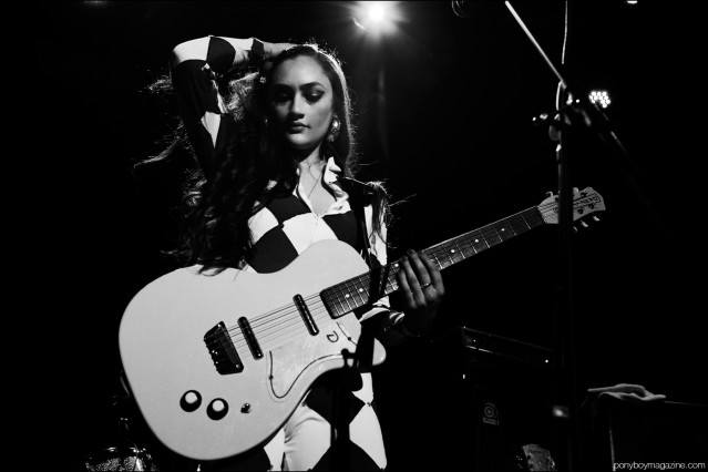 The beautiful Kitty Durham from Kitty, Daisy & Lewis. Photographed onstage at Bowery Ballroom in New York City by Alexander Thompson for Ponyboy magazine.