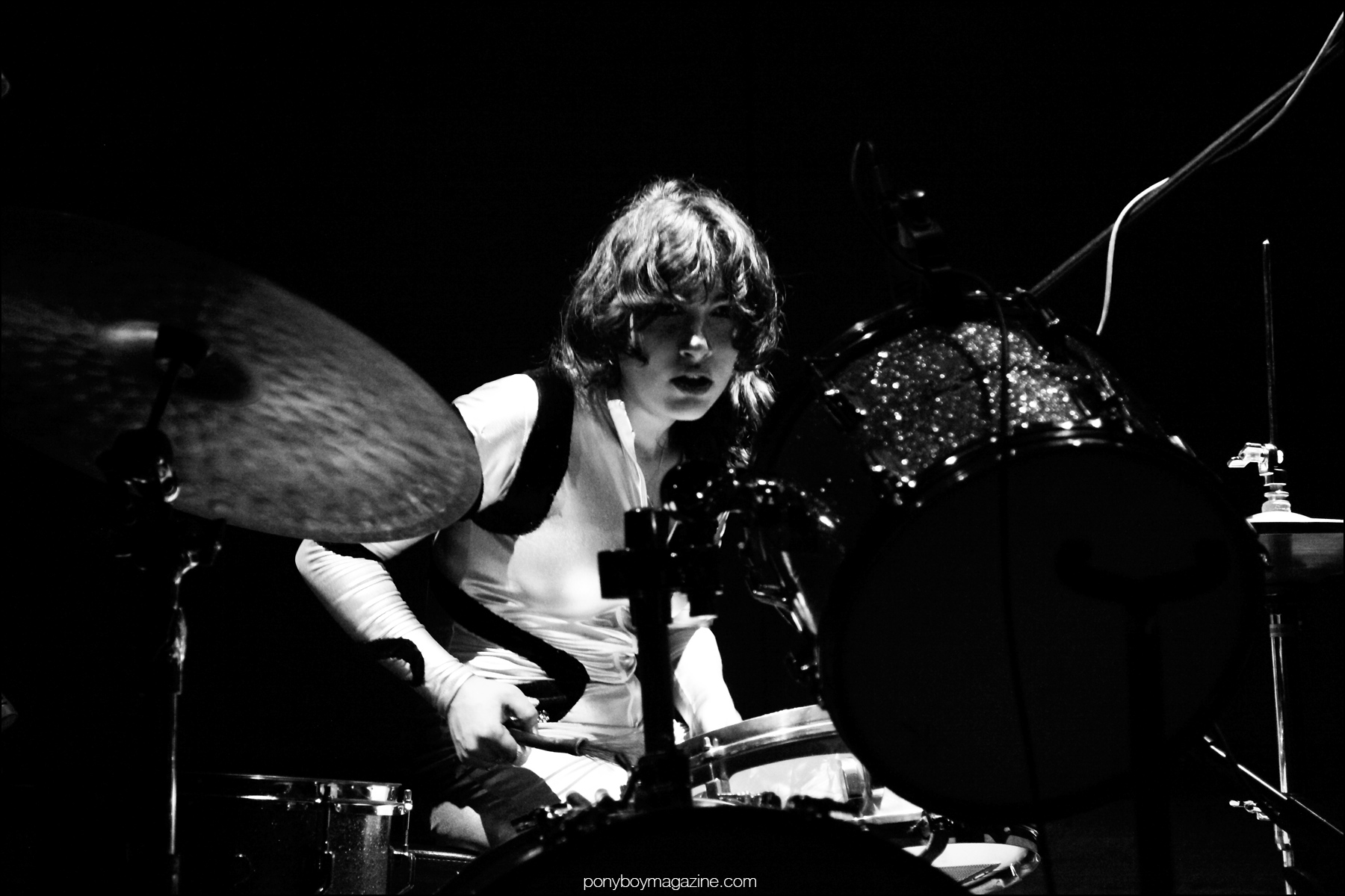 Drummer Daisy Durham photographed onstage at Bowery Ballroom New York by Alexander Thompson for Ponyboy magazine.