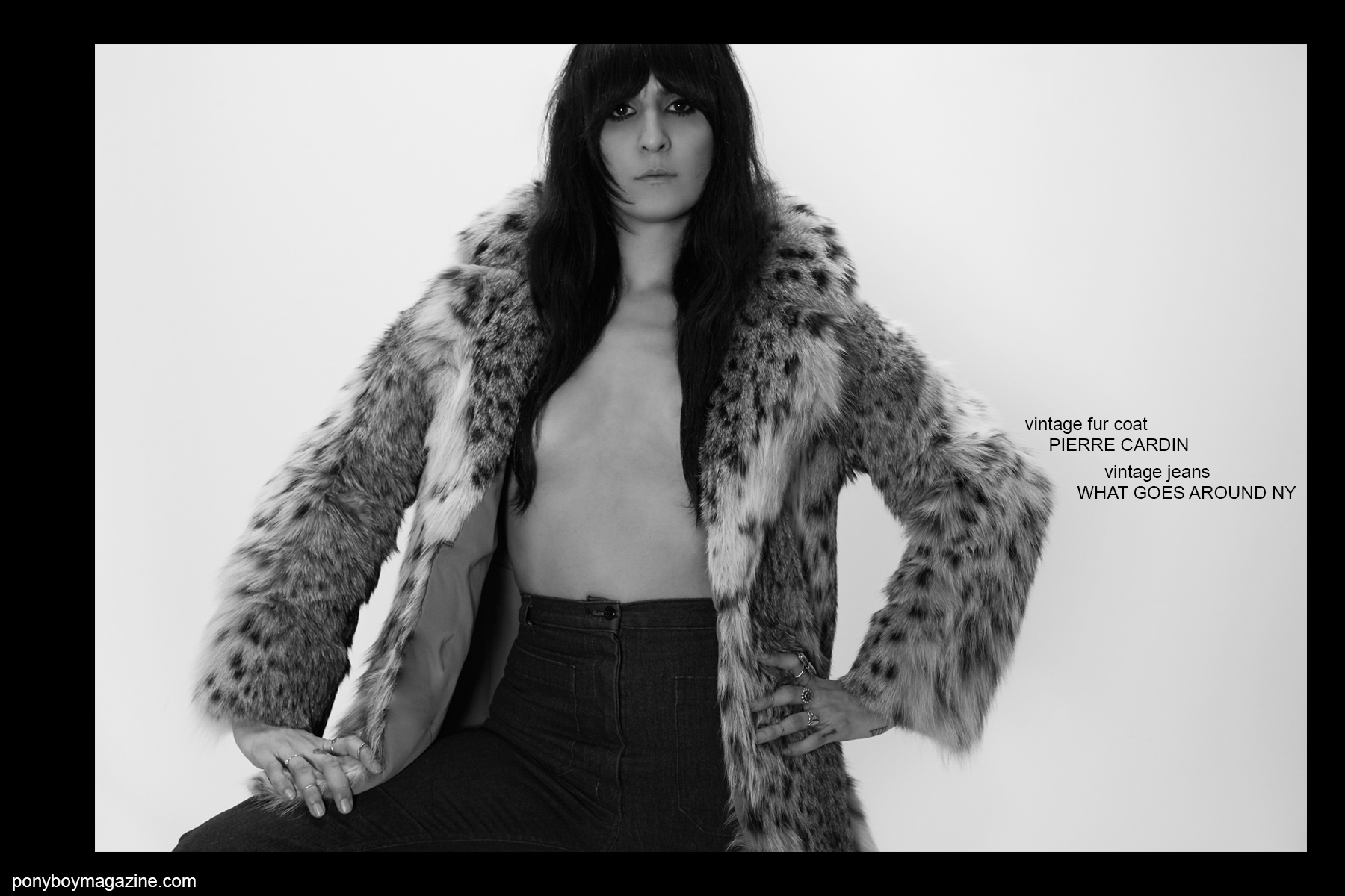 In a vintage Pierre Cardin fur coat, Kristin Gallegos photographed by Alexander Thompson for Ponyboy magazine NY.