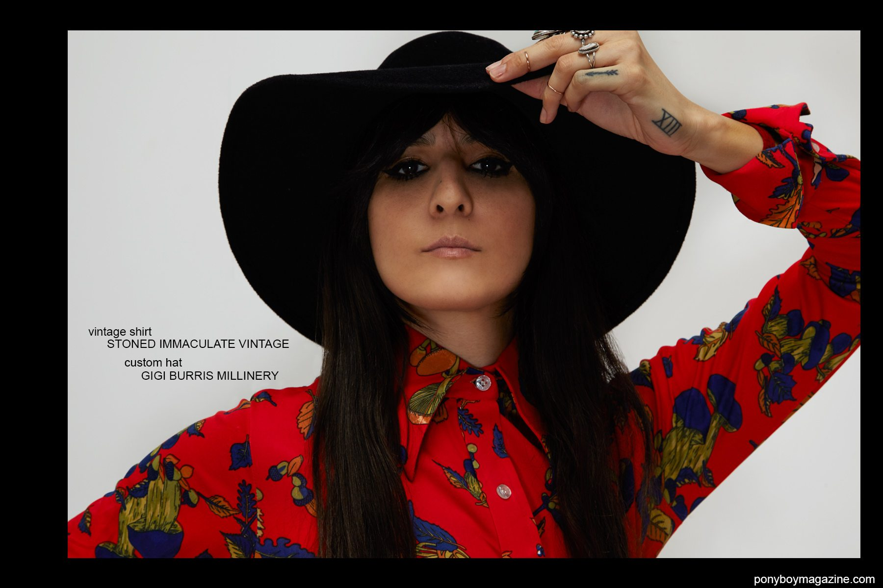 Kristin Gallegos, photographed by Alexander Thompson in a vintage shirt from Stoned Immaculate Vintage, and custom hat by Gigi Burris Millinery. Ponyboy magazine NY.