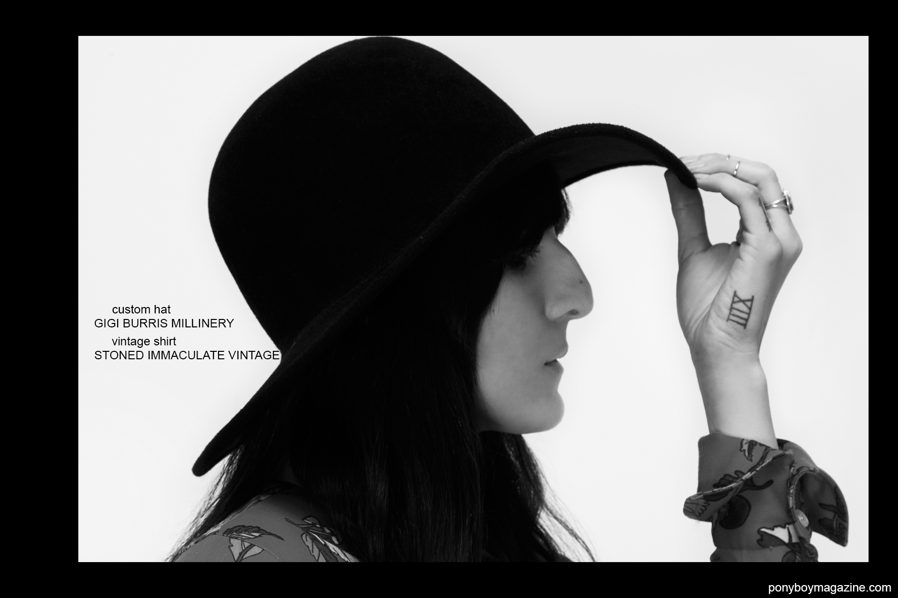 60's beauty Kristin Gallegos photographed in a Gigi Burris hat for Ponyboy magazine by Alexander Thompson in New York.