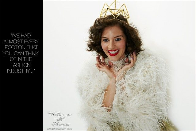 Amirah Kassem photographed in a vintage coat from Patricia Field and crown by WXYZ Jewelry by Alexander Thompson for Ponyboy magazine.