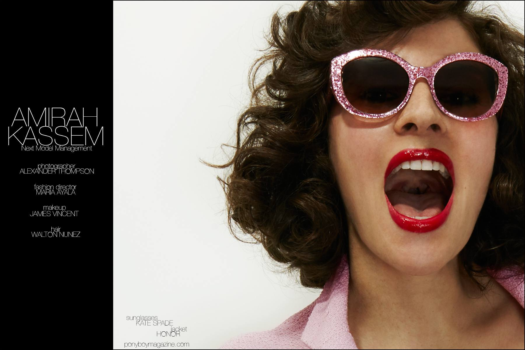 Amirah Kassem wears Kate Spade sunglasses, photographed by Alexander Thompson for Ponyboy magazine New York.