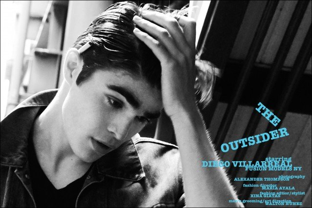 """Fusion model Diego Villarreal stars in 1950's menswear editorial """"The Outsider"""", photographed by Alexander Thompson for Ponyboy magazine."""