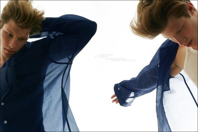 Jordan Paris models vintage sheer shirts for Ponyboy magazine in New York City, photographed by Alexander Thompson.