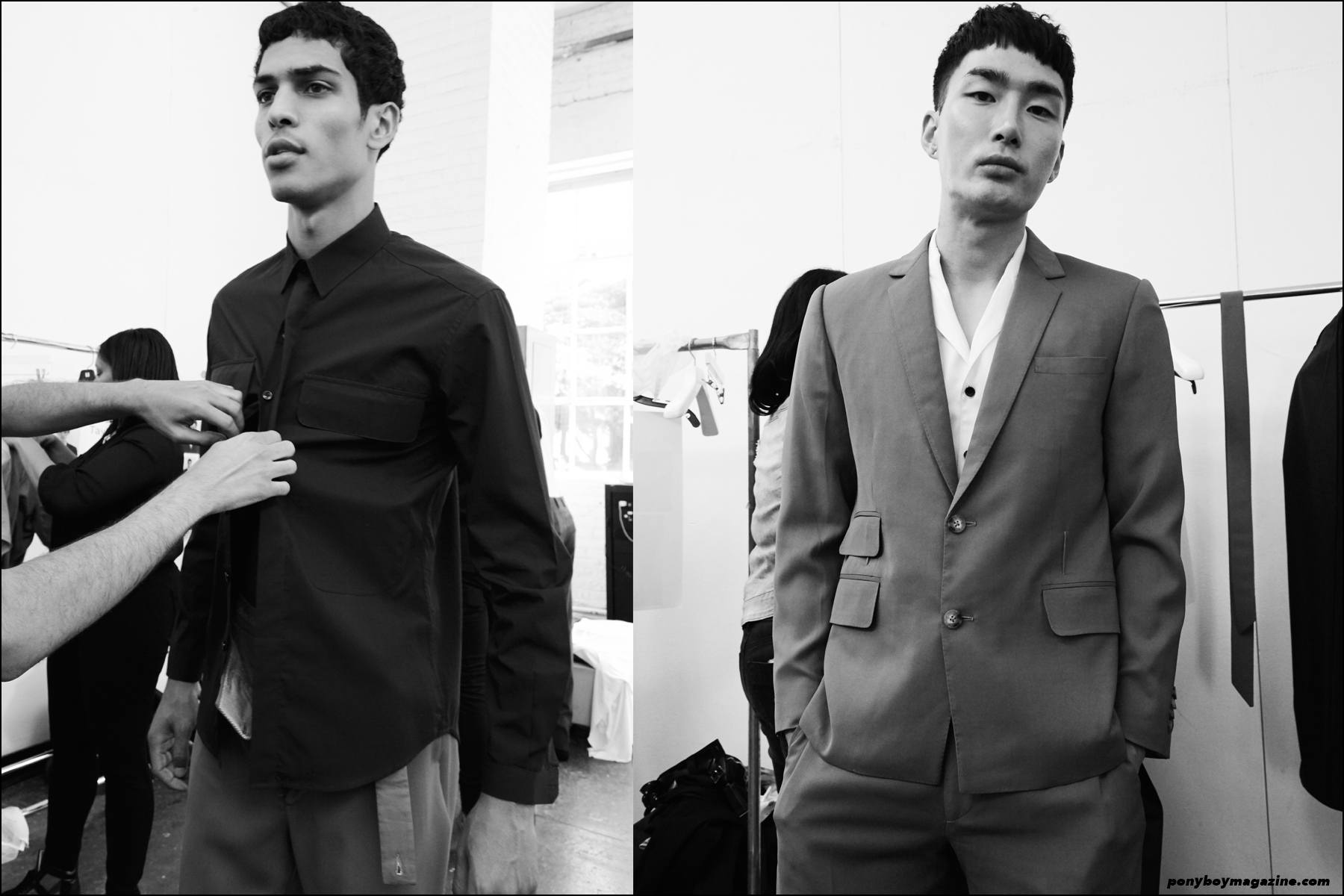 Models Geron McKinley and Noma Han photographed backstage at the Carlos Campos Spring/Summer 2016 menswear presentation at Industria Studios New York. Photography by Alexander Thompson for Ponyboy magazine NY.