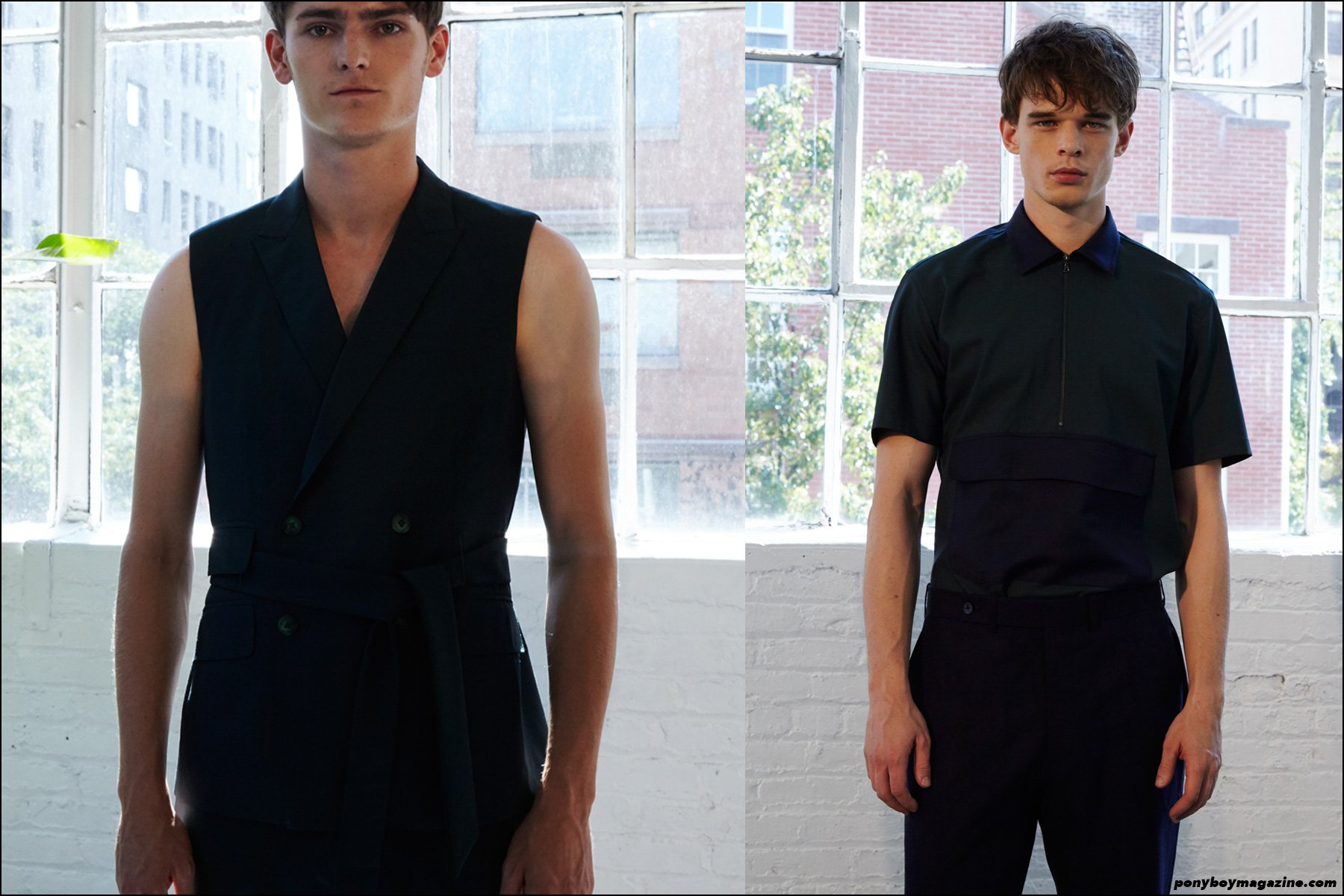 Male models Alexander Beck and Andre Bona photographed at the Carlos Campos S/S 2016 menswear presentation at Industria Studios New York. Photographs by Alexander Thompson for Ponyboy magazine NY.