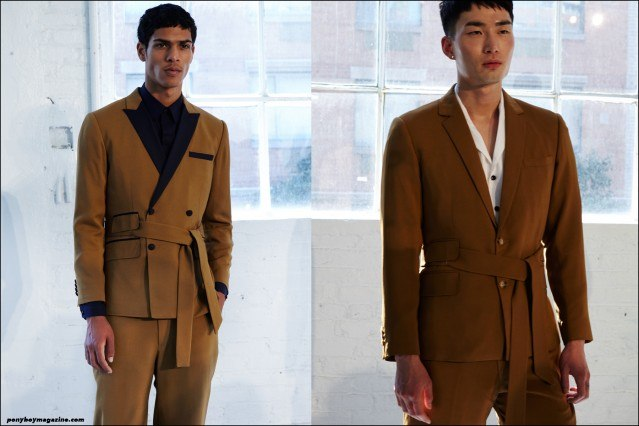 Models Geron McKinley and Noma Han photographed backstage at the Carlos Campos S/S 2016 menswear presentation at Industria Studios New York. Photography by Alexander Thompson for Ponyboy magazine.