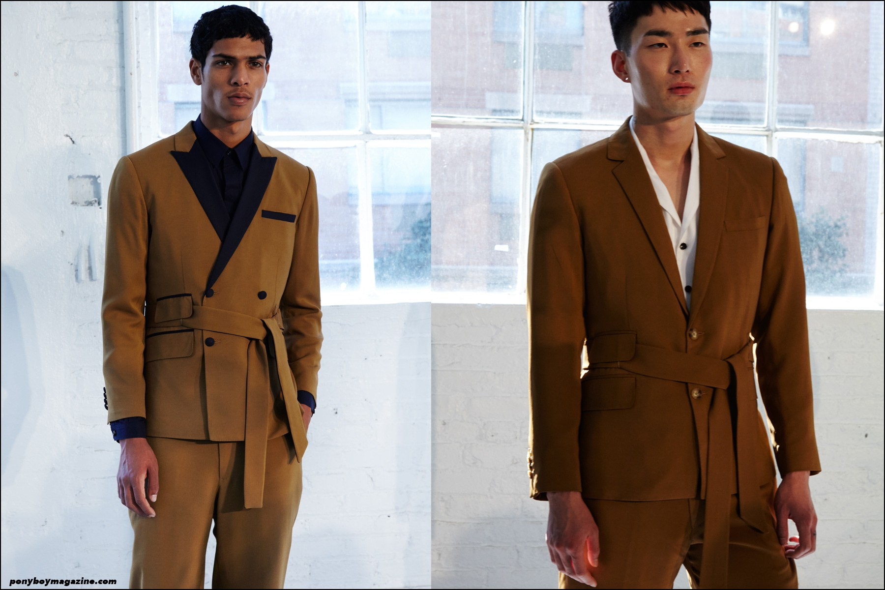 Models Geron McKinley and Noma Han photographed backstage at the Carlos Campos S/S 2016 menswear presentation at Industria Studios New York. Photography by Alexander Thompson for Ponyboy magazine NY.
