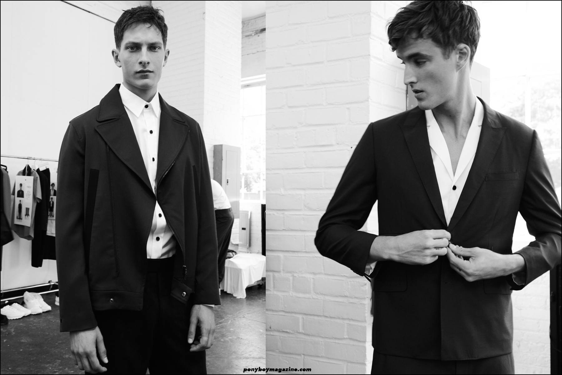 Model James Smith, photographed by Alexander Thompson, backstage at Carlos Campos S/S16, for Ponyboy magazine NY.