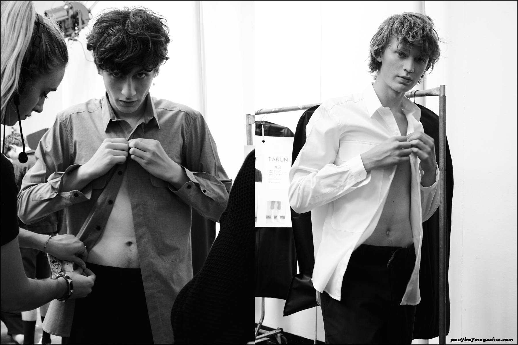 Henry Kitcher and Jonas Gloer, photographed backstage at Carlos Campos Spring/Summer 2016, at Industria Studios in New York. Photography by Alexander Thompson for Ponyboy magazine NY.