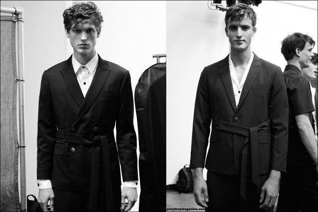 Models Alex Treutel and James Smith, photographed backstage at Carlos Campos Spring/Summer 2016 presentation at Industria Studios New York. Photographs by Alexander Thompson for Ponyboy magazine.