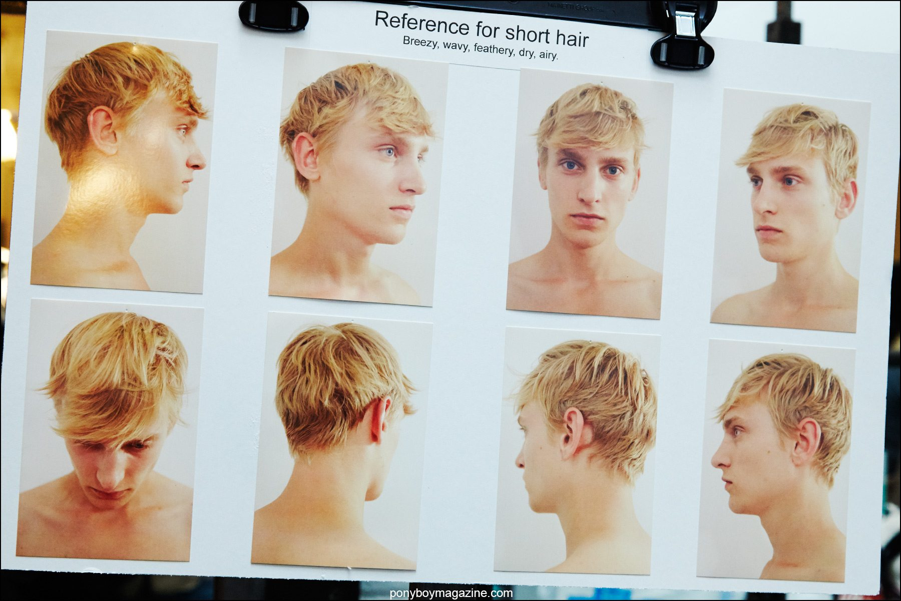 Hair references for Fingers Crossed S/S 2016 presentation at Industria Studios New York. Photograph by Alexander Thompson for Ponyboy magazine.