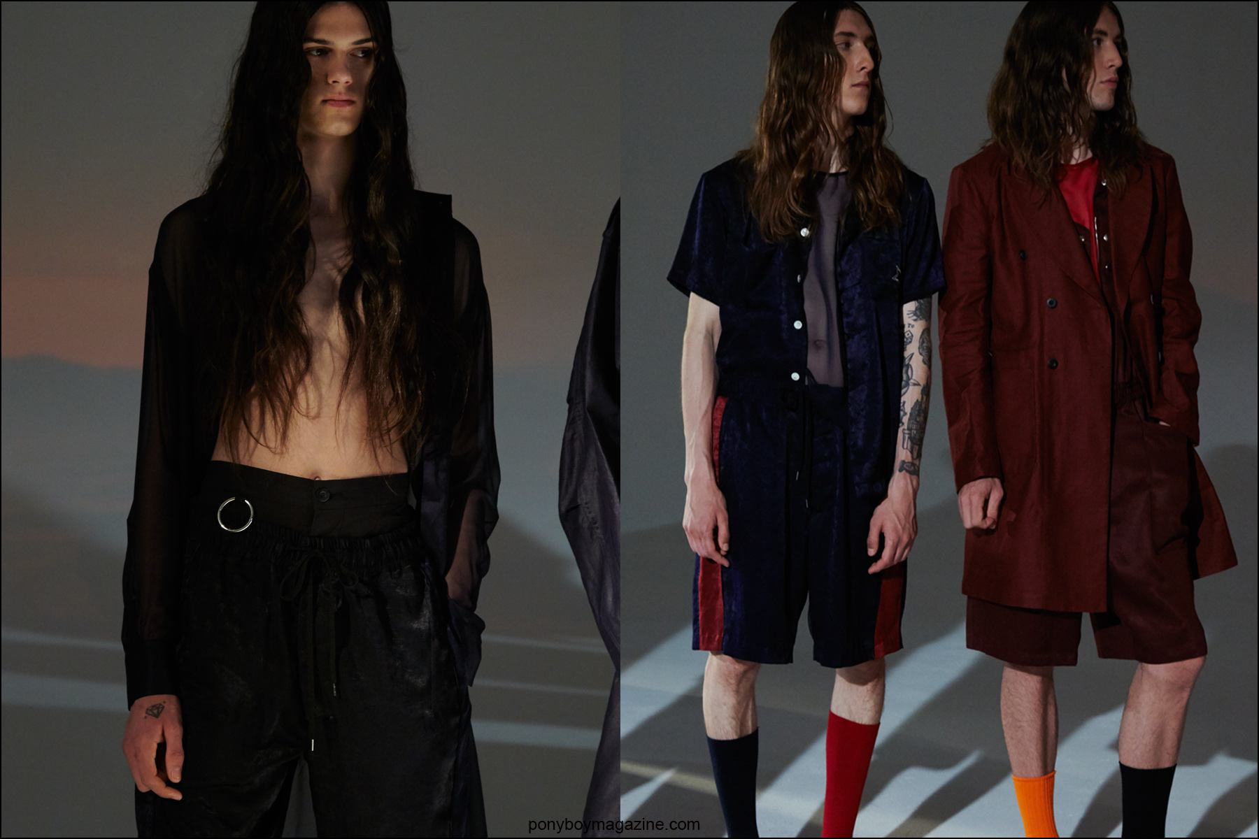Long haired male models photographed by Alexander Thompson for Ponyboy magazine, at the Fingers Crossed S/S 2016 menswear collection at Industria Studios.