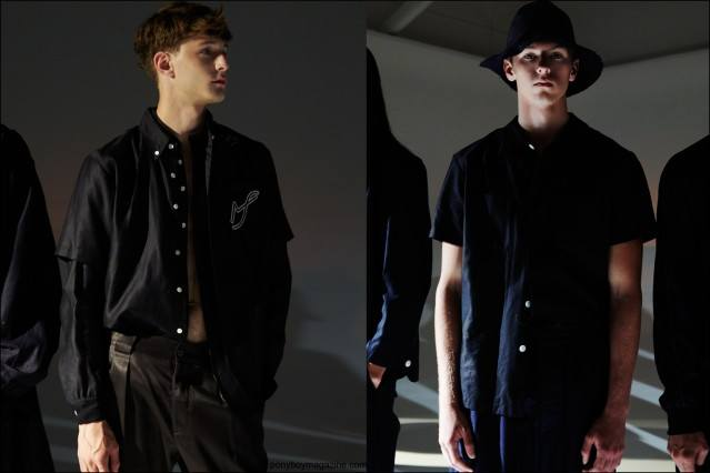 Models photographed at the Fingers Crossed Spring/Summer 2016 menswear collection at Industria Studios in New York City. Photographed by Alexander Thompson for Ponyboy magazine.