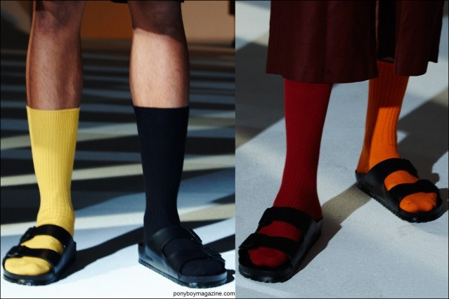 Detail shots of men's socks/shoes at the Fingers Crossed S/S16 menswear collection, photographed in New York City by Alexander Thompson for Ponyboy magazine.