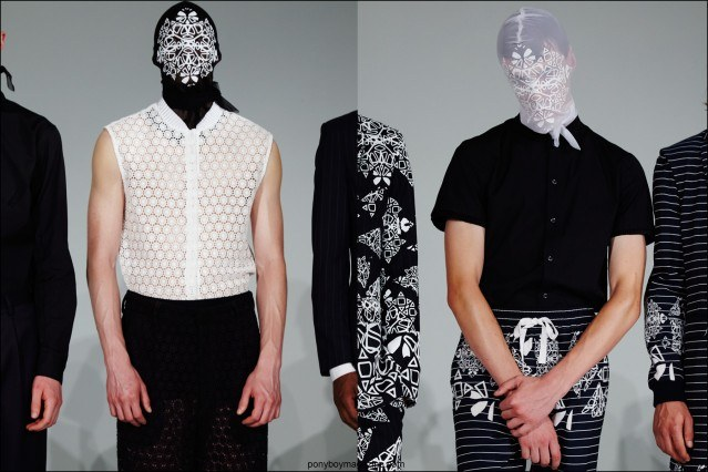 Male models in printed sheer kerchiefs at Kenneth Ning Spring/Summer 2016. Photographed by Alexander Thompson for Ponyboy magazine.