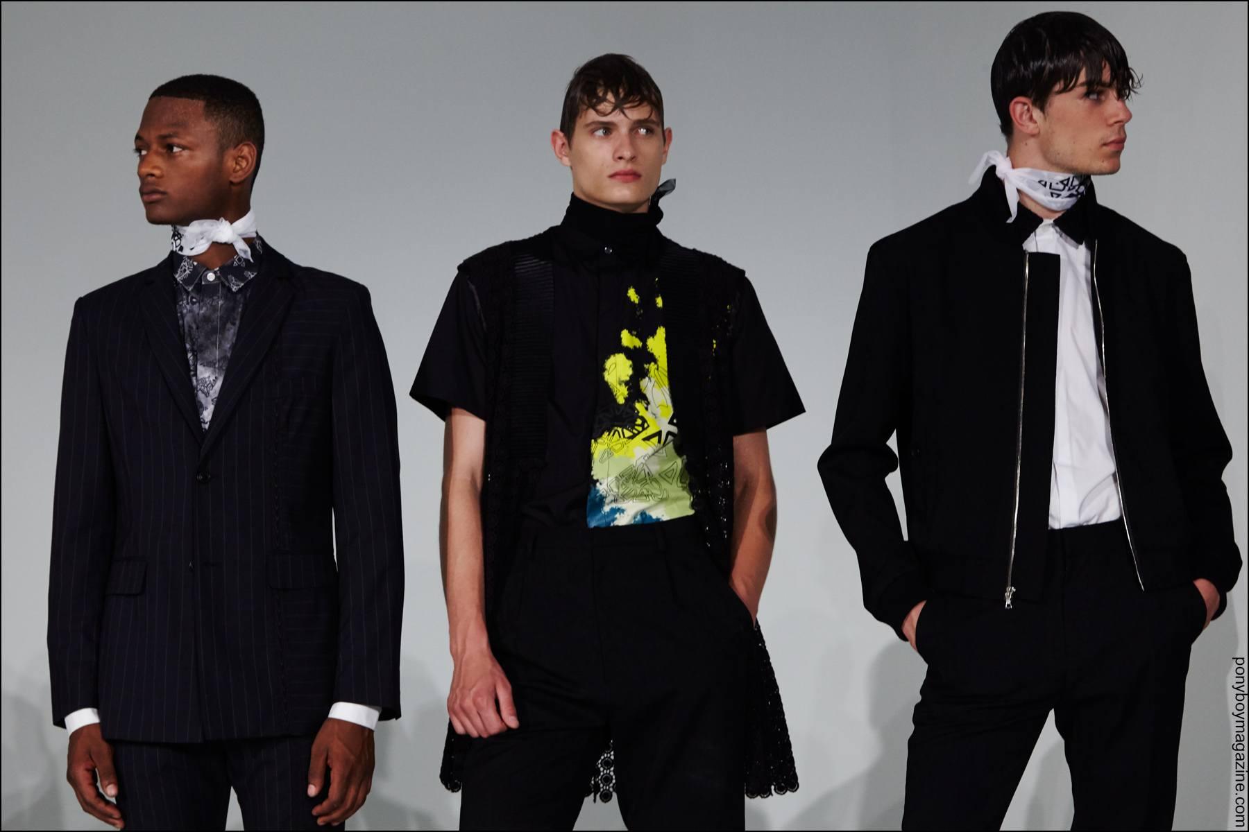 Male models photographed at New York Fashion Week Men's presentation by designer Kenneth Ning, Spring/Summer 2016. Photo by Alexander Thompson for Ponyboy magazine NY.