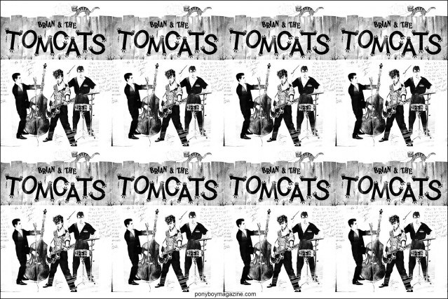 1980s artwork for Brian & The Tomcats. From the collection of Stray Cats Collector's. Ponyboy magazine NY.
