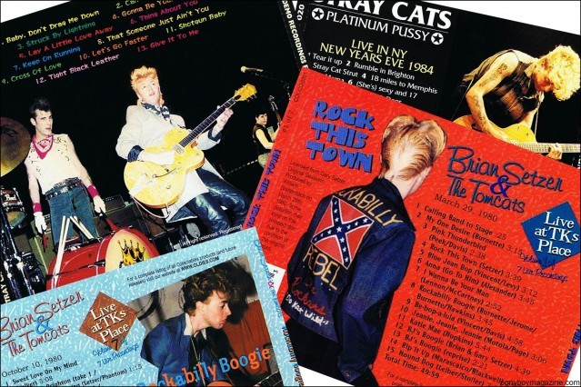 Backside of 80's album artwork for rockabilly band Stray Cats, from the collection of Stray Cats Collector's. Ponyboy magazine.