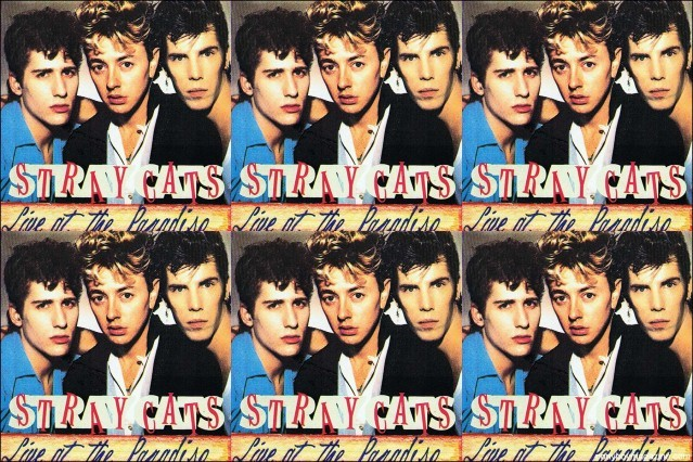 Colorful tour poster of 80's rockabilly band Stray Cats, from the collection of Stray Cats Collector's. Ponyboy magazine.