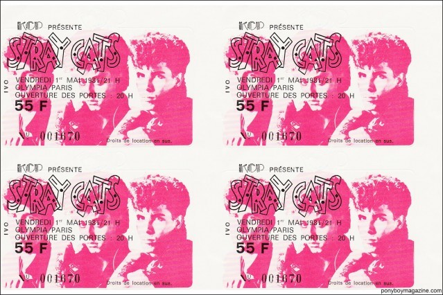 Vintage Stray Cats ticket stubs from a show in Paris, from the collection of Stray Cats Collector's. Ponyboy magazine.