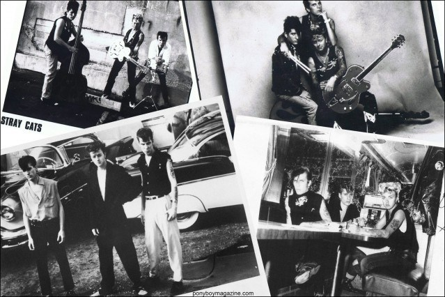 B&W promo photos from the 1980's of Stray Cats band, from the collection of Stray Cats Collector's. Ponyboy magazine.