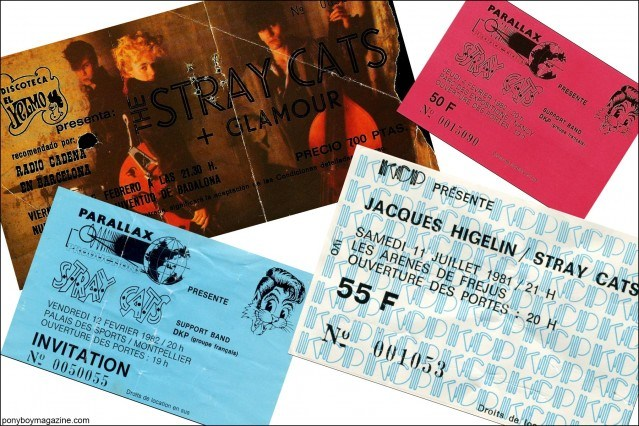 Assorted Stray Cats ticket stubs from the 1980's, from the collection of Stray Cats Collector's. Ponyboy magazine.