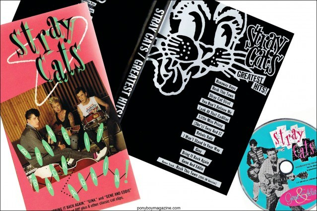 Stray Cat's VHS, Greatest Hits and Gene & Eddie, from the collection of Stray Cats Collector's. Ponyboy magazine.
