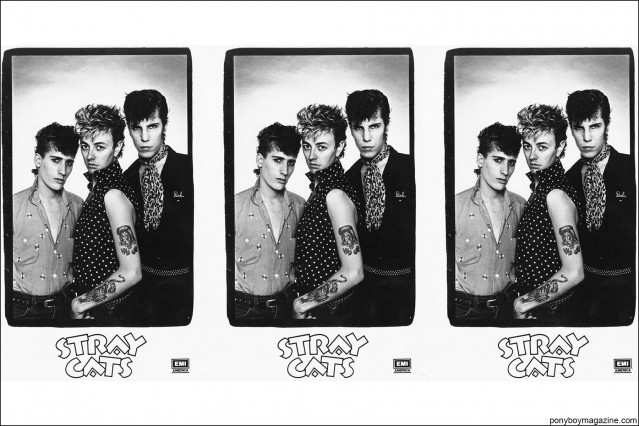 Collage of B&W photos of 1980's Stray Cats, from the collection of Stray Cats Collector's. Ponyboy magazine.