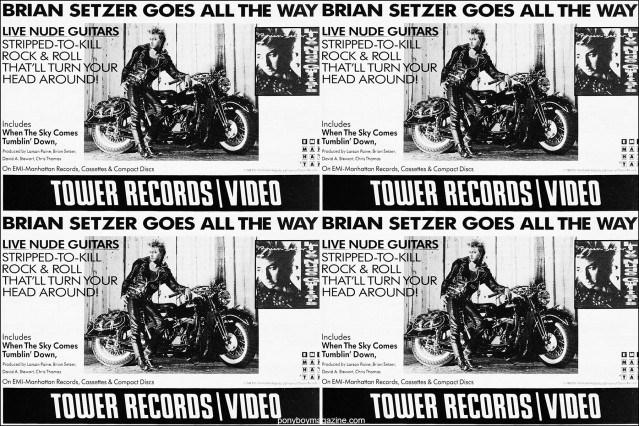 Brian Setzer ad from the 1980's, from the collection of Stray Cats Collectors. Ponyboy magazine.