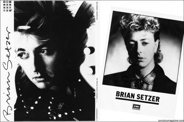 1980's B&W publicity shots of rockabilly musician Brian Setzer, from the collection of Stray Cats Collector's. Ponyboy magazine.
