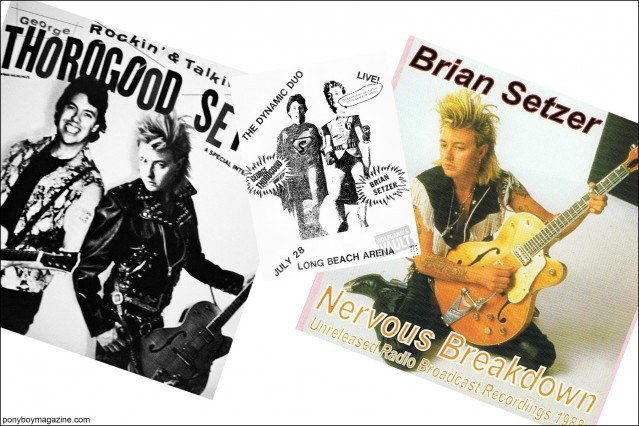 80's album artwork from Brian Setzer projects, courtesy of Stray Cats Collector's. Ponyboy magazine.